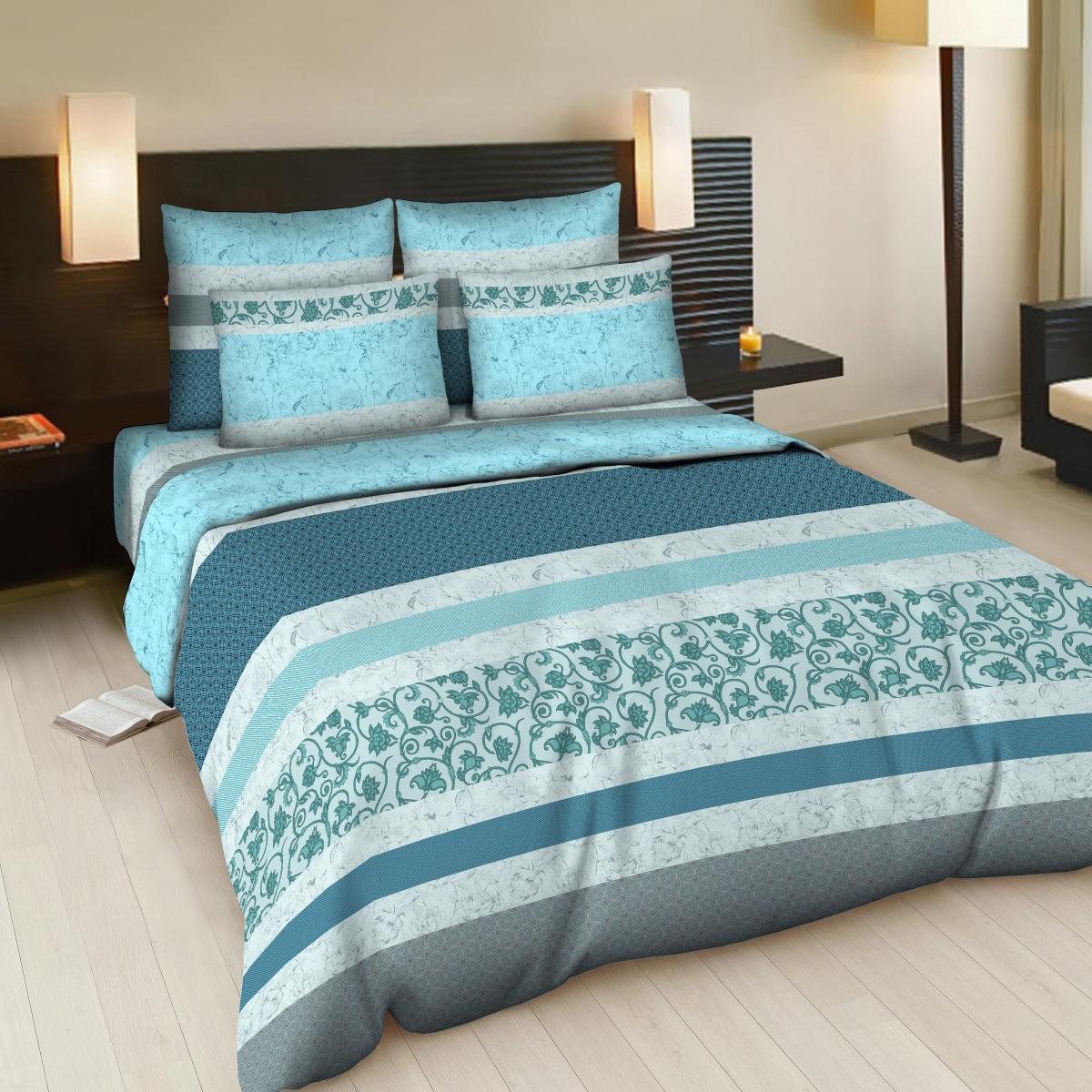 Комплект белья Letto Карнелия, 2-спальный, наволочки 70х70, цвет: голубой, серый, синийВ83-4Комплект постельного белья Letto Карнелия выполнен из бязи (100% натурального хлопка). Комплект состоит из пододеяльника, простыни и двух наволочек. Постельное белье оформлено ярким красочным рисунком.Гладкая структура делает ткань приятной на ощупь, мягкой и нежной, при этом она прочная и хорошо сохраняет форму. Благодаря такому комплекту постельного белья вы сможете создать атмосферу роскоши и романтики в вашей спальне.