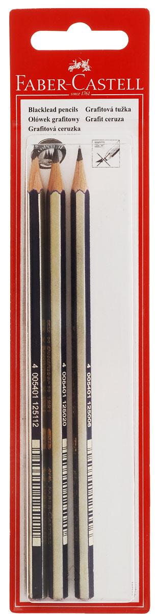Faber-Castell Чернографитовые карандаши Goldfaber твердость HB H 2B 3 шт263209Чернографитовые карандаши Faber-Castell Goldfaber станут не только идеальным инструментом для письма, рисования или черчения, но и дополнят ваш имидж. Шестигранный корпус выполнен из натуральной древесины с сине-золотистым покрытием с надписями золотистого цвета. Высококачественный ударопрочный грифель не крошится и не ломается при заточке. Качественная мягкая древесина обеспечивает хорошее затачивание. Специальная SV технология вклеивания грифеля предотвращает его поломку при падении на пол. Карандаши покрыты лаком на водной основе в целях защиты окружающей среды. Степень твердости - HB, B, 2B. В комплект входят 3 графитовых карандаша.