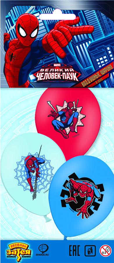 Веселая затея Набор воздушных шаров Человек-Паук 3 шт