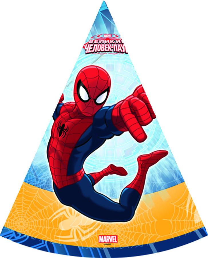 Веселая затея Колпак Человек-паук 6 шт