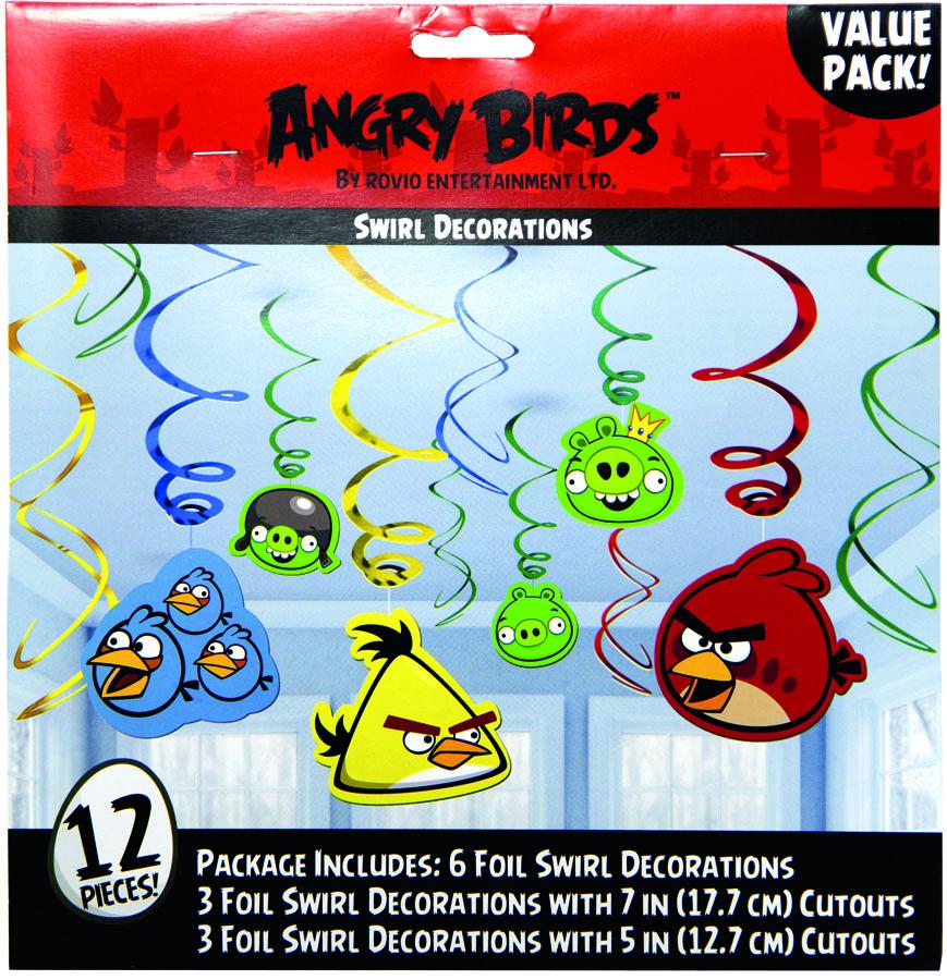 Amscan Спираль Angry Birds 12 шт65930_2Приближается день рождения или другая знаменательная дата? Создать праздничную атмосферу в доме поможет украшение-спираль Angry Birds. Каждая спираль снабжена колечком для крепления к потолку или стене. В наборе 12 разноцветных украшений.