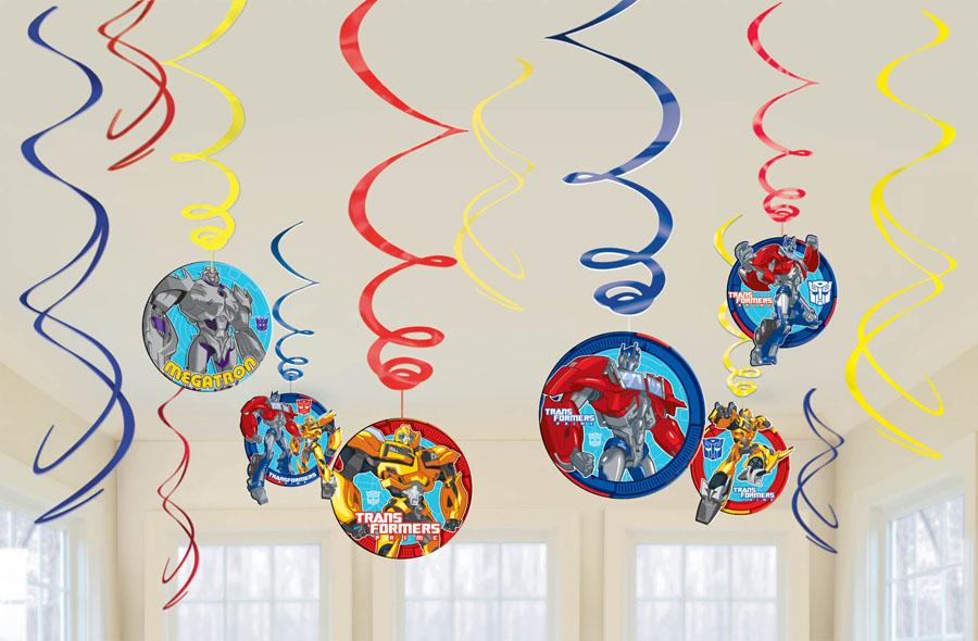 Amscan Спираль Трансформеры 12 шт97775318Приближается день рождения или другая знаменательная дата? Создать праздничную атмосферу в доме поможет украшение-спираль Трансформеры. Каждая спираль снабжена колечком для крепления к потолку или стене.В наборе 12 разноцветных украшений.