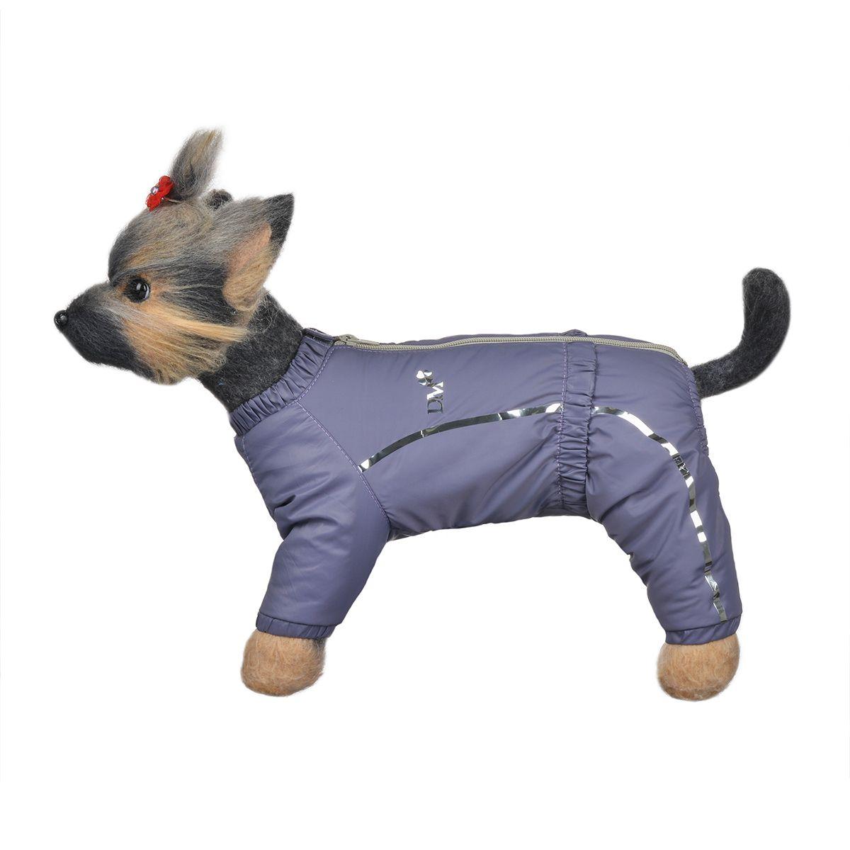 Комбинезон для собак Dogmoda Альпы, зимний, для девочки, цвет: фиолетовый, серый. Размер 4 (XL)0120710Зимний комбинезон для собак Dogmoda Альпы отлично подойдет для прогулок в зимнее время года.Комбинезон изготовлен из полиэстера, защищающего от ветра и снега, с утеплителем из синтепона, который сохранит тепло даже в сильные морозы, а на подкладке используется искусственный мех, который обеспечивает отличный воздухообмен. Комбинезон застегивается на молнию и липучку, благодаря чему его легко надевать и снимать. Ворот, низ рукавов и брючин оснащены внутренними резинками, которые мягко обхватывают шею и лапки, не позволяя просачиваться холодному воздуху. На пояснице имеется внутренняя резинка. Изделие декорировано серебристыми полосками и надписью DM.Благодаря такому комбинезону простуда не грозит вашему питомцу и он сможет испытать не сравнимое удовольствие от снежных игр и забав.