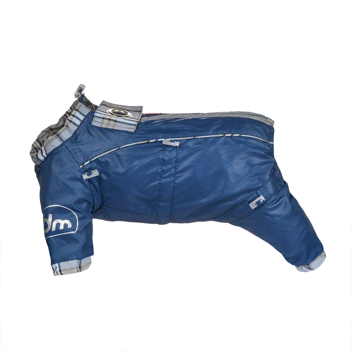 Комбинезон для собак Dogmoda Doggs, для мальчика, цвет: темно-синий. Размер M0120710Комбинезон для собак Dogmoda Doggs отлично подойдет для прогулок в ветреную погоду.Комбинезон изготовлен из полиэстера, защищающего от ветра и осадков, с подкладкой из вискозы, которая обеспечит отличный воздухообмен. Комбинезон застегивается на молнию и липучку, благодаря чему его легко надевать и снимать. Молния снабжена светоотражающими элементами. Низ рукавов и брючин оснащен внутренними резинками, которые мягко обхватывают лапки, не позволяя просачиваться холодному воздуху. На вороте, пояснице и лапках комбинезон затягивается на шнурок-кулиску с затяжкой. Модель снабжена непромокаемым карманом для размещения записки с информацией о вашем питомце, на случай если он потеряется.Благодаря такому комбинезону простуда не грозит вашему питомцу и он не даст любимцу продрогнуть на прогулке.