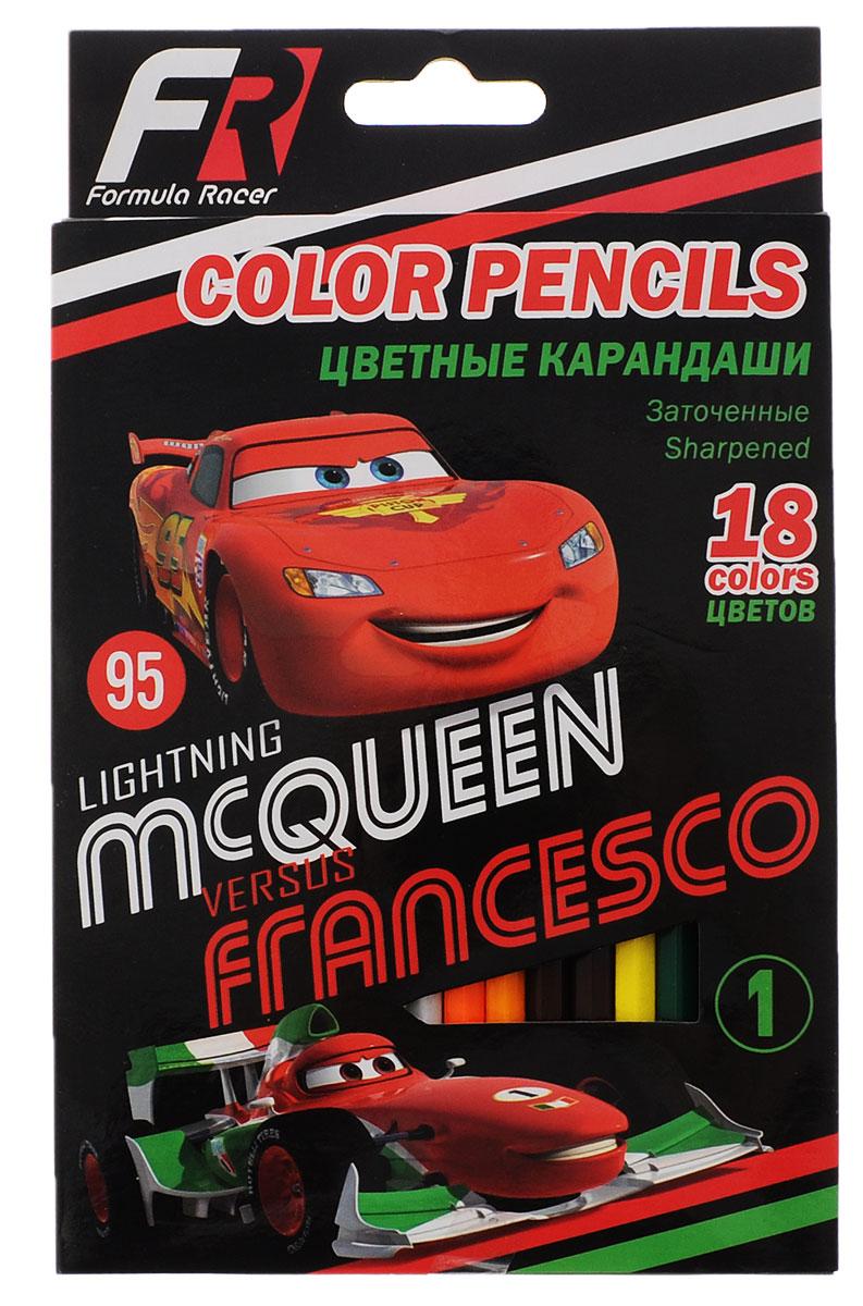 Disney/Pixar Набор цветных карандашей Formula Racers 18 цветов730396Цветные карандаши Formula Racers откроют юным художникам новые горизонты для творчества, а также помогут отлично развить мелкую моторику рук, цветовое восприятие, фантазию и воображение. Традиционный шестигранный корпус изготовлен из натуральной высококачественной древесины с многослойной покраской. Карандаши удобно держать в руках, а мягкий грифель не требует сильного нажима.Комплект включает 18 заточенных карандашей ярких насыщенных цветов.