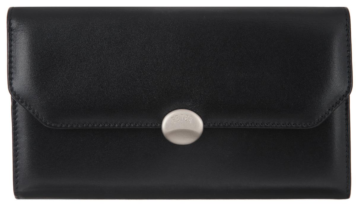 Портмоне женское Petek 1855, цвет: черный. 408.000.0177-080-06Женское портмоне Petek 1855 изготовлено из натуральной кожи. Изделие закрывается клапаном на застежку-кнопку. Основное отделение разделено на два отсека. В первом отсеке, который закрывается на застежку кнопку, расположены девять вертикальных карманов для пластиковых карт, один из которых с окошком из прозрачного сетчатого материала, три больших горизонтальных кармана. Во втором отсеке расположены два отделения для купюр, большой горизонтальный карман, карман для мелочи на застежке-фермуаре. Изделие упаковано в фирменную коробку.Стильное портмоне эффектно дополнит ваш образ и станет незаменимым аксессуаром на каждый день.