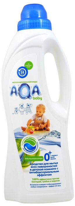 Средство для мытья всех поверхностей в детской комнате AQA Baby с антибактериальным эффектом. Инновация в области безопасных средств для уборки в детской комнате: очищает и обеззараживает: любые поверхности в детской комнате и во всем доме, в том числе напольные покрытия, ковры, мебель, горшки и т.д.; устраняет неприятные запахи, разрушая их, а не маскируя; без хлора, красителей и оптических осветлителей;безопасно для малыша и мамы, домашних питомцев и окружающей среды:   - не остается на поверхностях - на основе возобновляемого природного сырья. Эффект 24 часа:     - Бактерицидный: удаляет вредные бактерии (эффективен как против грам-положительных, так и грам-отрицательных бактерий).     - Антибактериальный: блокирует рост и размножение микроорганизмов (в том числе грибов)Не оказывает разрушающего влияния на обрабатываемые поверхности. Не сушит кожу рук.Подходит для различных поверхностей, в том числе: ПВХ, дерево, ламинат, паркет и паркетная доска, линолеум, керамическая плитка или керамогранит, искусственный камень и т.д. Эффективность подтверждена тестами в соответствии со стандартом США AATCC 100-1998.   Способ применения: используется разбавленным или неразбавленным.Разбавленным: добавьте один колпачок средства в 5 литров воды, размешайте и используйте для мытья пола и поверхностей.   Не требуетсмывания.Неразбавленным: для нанесения на локальные загрязнения на полу или ковровых покрытиях намочите губку в средстве и протрите нужныйучасток до полного удаления загрязнения или запаха. Не требует смывания. Товар сертифицирован.