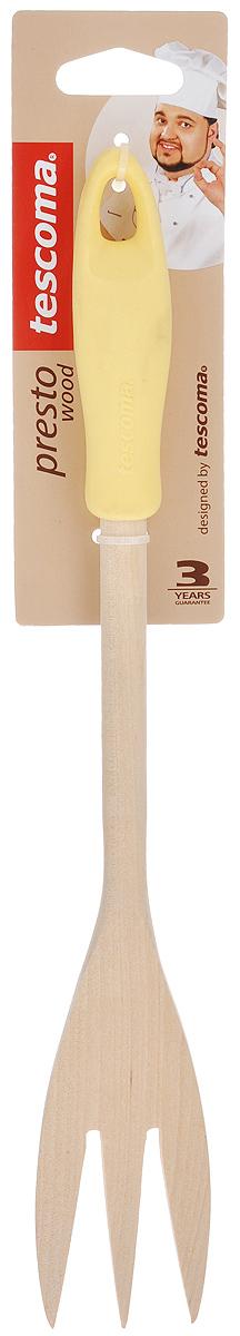 Вилка для мяса Tescoma Presto Wood, цвет: желтый, длина 30 см115510Вилка для мяса Tescoma Presto Wood изготовлена из экологически чистого материала - качественной березовой древесины, обладающей уникальной текстурой. Элегантная ручка имеет противоскользящую обработку, что дает возможность удобно и комфортно пользоваться вилкой. Такая кухонная принадлежность подходит для всех видов посуды, а также замечательна для посуды с антипригарным покрытием. Вилка для мяса Tescoma Presto Wood станет вашим незаменимым помощником на кухне, а также это практичный и необходимый подарок любой хозяйке! Не рекомендуется мыть в посудомоечной машине. Размер рабочей поверхности: 4,5 см х 9 см. Общая длина вилки: 30 см.
