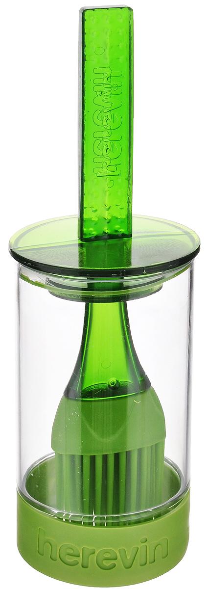Емкость для соуса Herevin, с кисточкой, цвет: зеленый, 250 млVT-1520(SR)Емкость для соуса Herevin выполнена из прочного пластика. В нижней части емкости имеется вставка из приятного на ощупь силикона, который не позволит ей выскользнуть из ваших рук. Емкость плотно закрывается пластиковой крышкой с уплотнителем и встроенной силиконовой кисточкой. Кисточка хорошо распределяет соус, маринад или другую смазку. Такое удобное приспособление поможет вам смазать соусом готовое блюдо и не разбрызгать его. Налейте соус в емкость, опустите туда кисточку и, уже поднеся к пирогу или мясу, смазывайте. Также емкость прекрасно подходит для приготовления и хранения соуса, маринада.Диаметр емкости: 6 см.Высота емкости (без учета крышки): 11 см.Длина кисточки: 20 см.