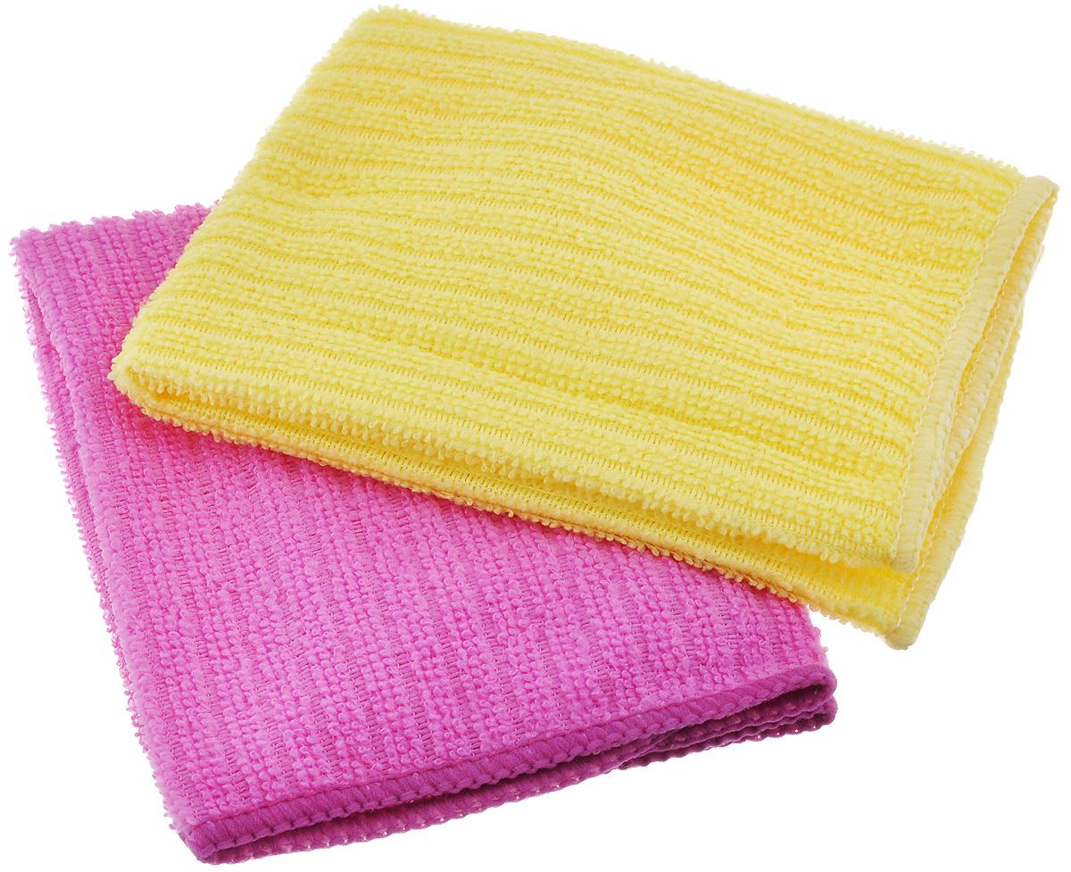 Салфетка из микрофибры Home Queen, цвет: розовый, желтый, 30 х 30 см, 2 штZ-0307Салфетка Home Queen изготовлена из микрофибры. Это великолепная гипоаллергенная ткань, изготовленная из тончайших полимерных микроволокон. Салфетка из микрофибры может поглощать количество пыли и влаги, в 7 раз превышающее ее собственный вес. Многочисленные поры между микроволокнами, благодаря капиллярному эффекту, мгновенно впитывают воду, подобно губке. Благодаря мелким порам микроволокна, любые капельки, остающиеся на чистящей поверхности, очень быстро испаряются, и остается чистая дорожка без полос и разводов. В сухом виде при вытирании поверхности волокна микрофибры электризуются и притягивают к себе микробов, мельчайшие частицы пыли и грязи, удерживая их в своих микропорах.