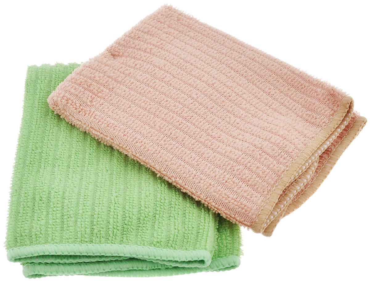 Салфетка из микрофибры Home Queen, цвет: зеленый, бежевый, 30 х 30 см, 2 штDW90Салфетка Home Queen изготовлена из микрофибры. Это великолепная гипоаллергенная ткань, изготовленная из тончайших полимерных микроволокон. Салфетка из микрофибры может поглощать количество пыли и влаги, в 7 раз превышающее ее собственный вес. Многочисленные поры между микроволокнами, благодаря капиллярному эффекту, мгновенно впитывают воду, подобно губке. Благодаря мелким порам микроволокна, любые капельки, остающиеся на чистящей поверхности, очень быстро испаряются, и остается чистая дорожка без полос и разводов. В сухом виде при вытирании поверхности волокна микрофибры электризуются и притягивают к себе микробов, мельчайшие частицы пыли и грязи, удерживая их в своих микропорах.