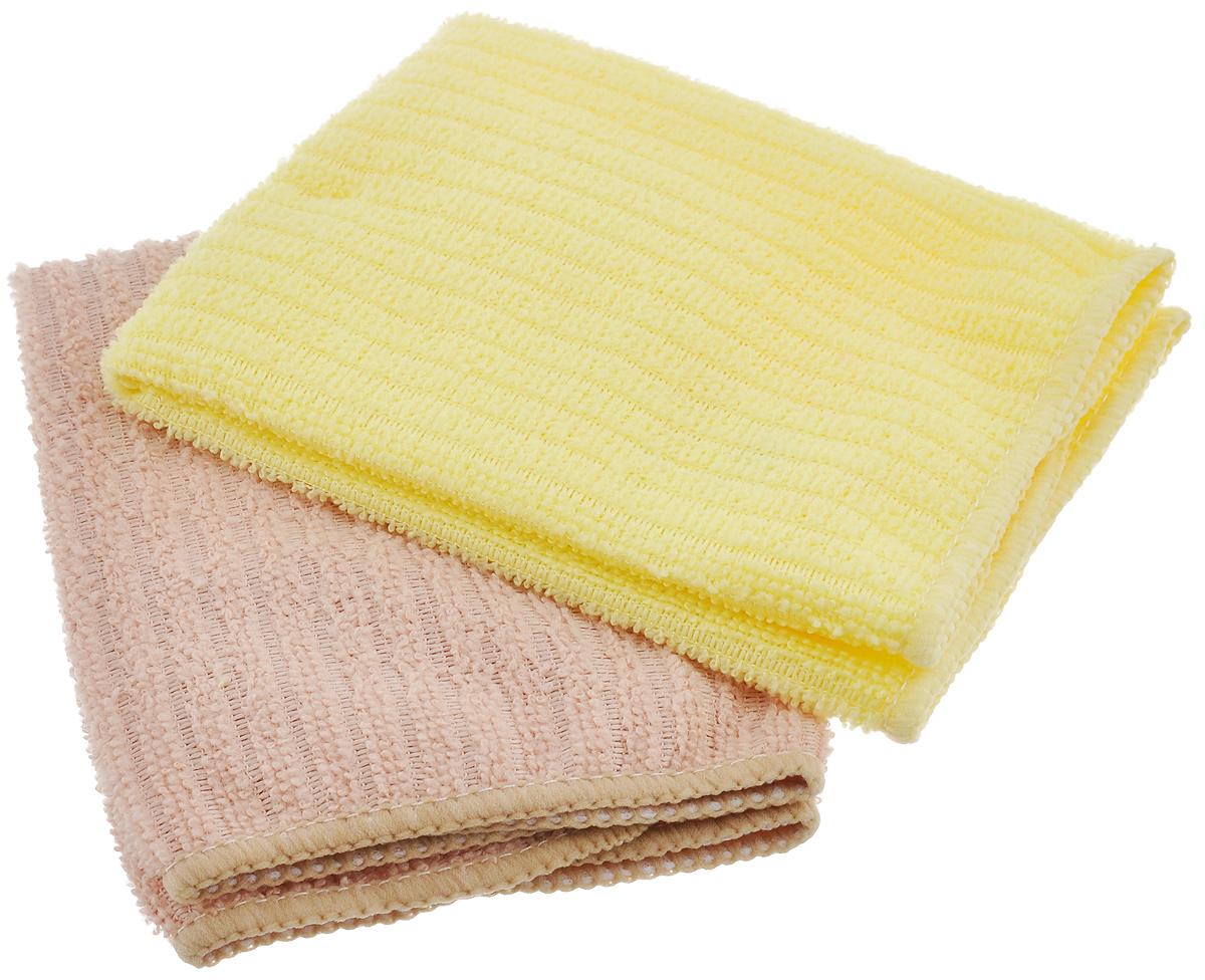 Салфетка из микрофибры Home Queen, цвет: желтый, бежевый, 30 х 30 см, 2 шт238000Салфетка Home Queen изготовлена из микрофибры. Это великолепная гипоаллергенная ткань, изготовленная из тончайших полимерных микроволокон. Салфетка из микрофибры может поглощать количество пыли и влаги, в 7 раз превышающее ее собственный вес. Многочисленные поры между микроволокнами, благодаря капиллярному эффекту, мгновенно впитывают воду, подобно губке. Благодаря мелким порам микроволокна, любые капельки, остающиеся на чистящей поверхности, очень быстро испаряются, и остается чистая дорожка без полос и разводов. В сухом виде при вытирании поверхности волокна микрофибры электризуются и притягивают к себе микробов, мельчайшие частицы пыли и грязи, удерживая их в своих микропорах.