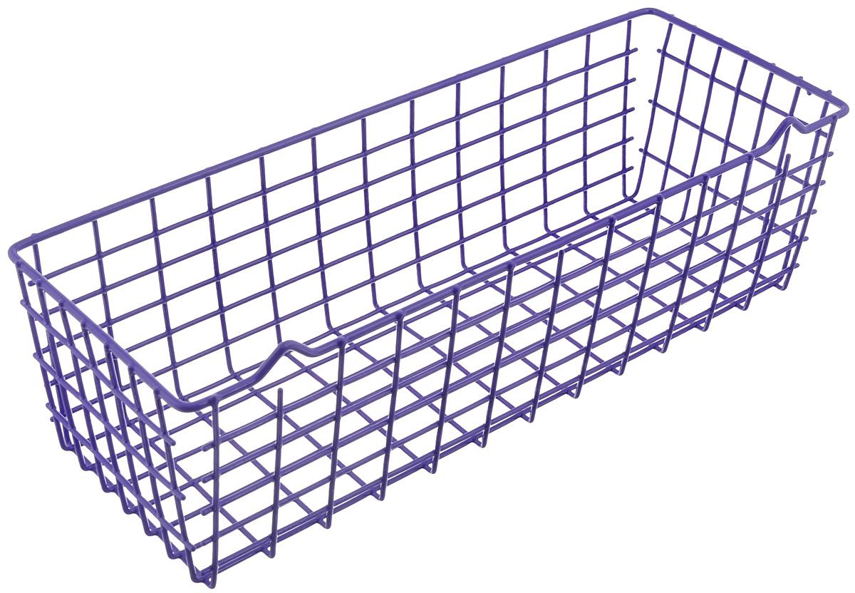 Полка универсальная Metaltex Pandino, цвет: фиолетовый, 33 х 12 х 9 смEX-SM6Универсальная полка Metaltex Pandino изготовлена из стали, покрытой полимерным, влагостойким материалом. Выполнена в виде небольшой корзинки. Такая полка сэкономит место на вашей кухне или в ванной. Современный дизайн делает ее не только практичным, но и стильным домашним аксессуаром. Полка пригодится для хранения различных кухонных или других принадлежностей, которые всегда будут под рукой.