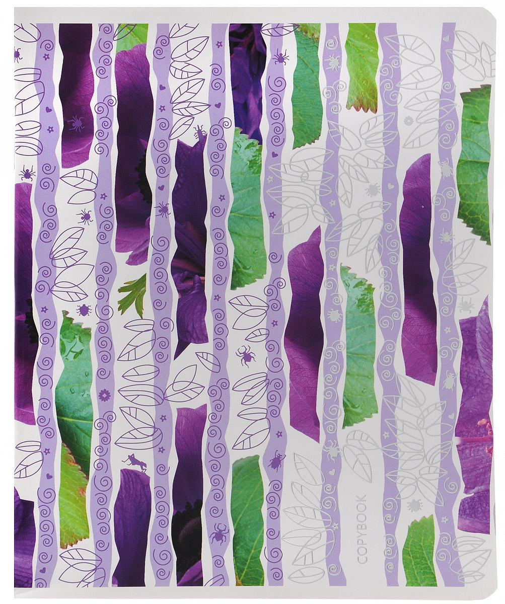 Полиграфика Тетрадь в клетку Leaves&Beetles 96 листов формат А5 цвет фиолетовый72523WDТетрадь в клетку Полиграфика Leaves&Beetles подойдет как школьнику, так и студенту. Обложка тетради выполнена из картона и дополнена красочным принтом. Внутренний блок состоит из 96 листов белой бумаги. Стандартная линовка в голубую клетку дополнена красными полями. Листы тетради соединены скобами.