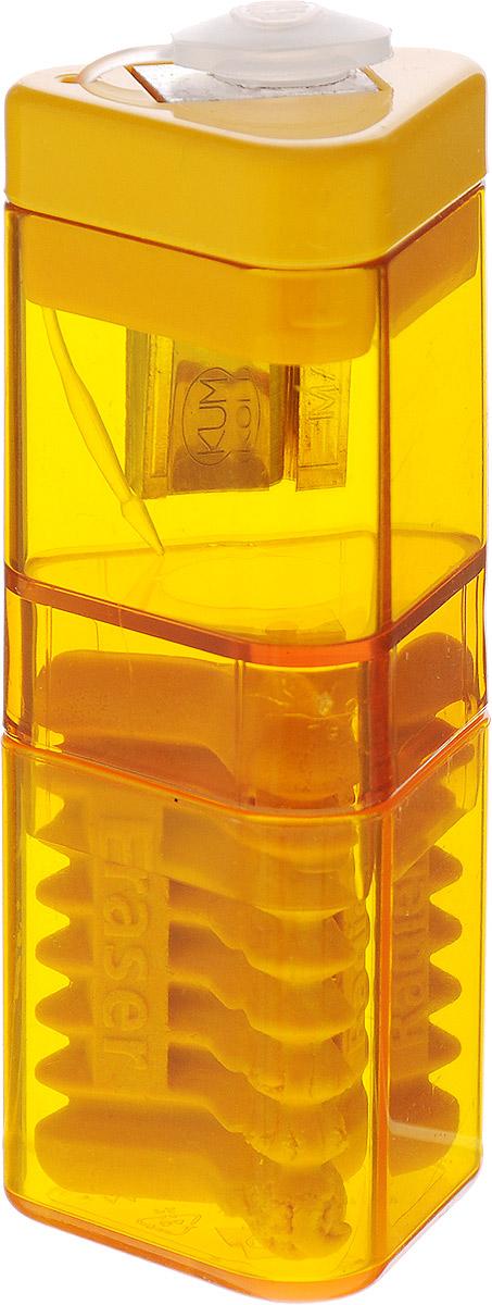 Kum Точилка с контейнером и ластиком Correc Tri Pop цвет желтыйFS-36052Точилка Kum Correc Tri Pop выполнена из пластика и металла с эргономичной трехгранной формой корпуса, наиболее удобной для руки.Лезвие точилки имеет высокую степень заточки, благодаря чему карандаш затачивается очень аккуратно и легко, оставляя тончайшую стружку. При затачивании грифель не ломается и не крошится. Специальная крышка не дает стружке выпадать, прозрачный контейнер позволяет вовремя производить очистку.Точилка снабжена ластиком для быстрого и чистого удаления надписей, сделанных чернографитным карандашом.