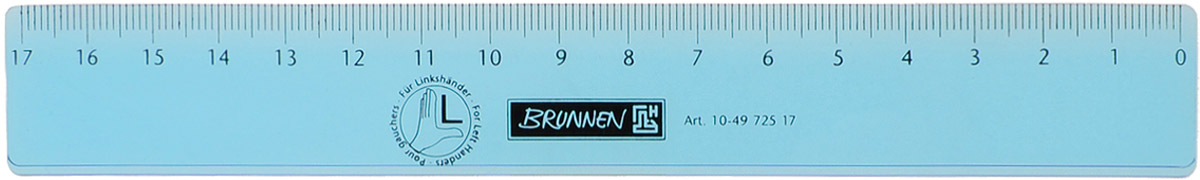 Brunnen Линейка для левши цвет голубой 17 см72523WDЛинейка Brunnen, длиной 17 см, выполнена из прозрачного пластика голубого цвета. Линейка предназначена специально для левшей. Шкала на линейке расположена справа налево. Линейка Brunnen - это незаменимый атрибут, необходимый школьнику или студенту, упрощающий измерение и обеспечивающий ровность проводимых линий.