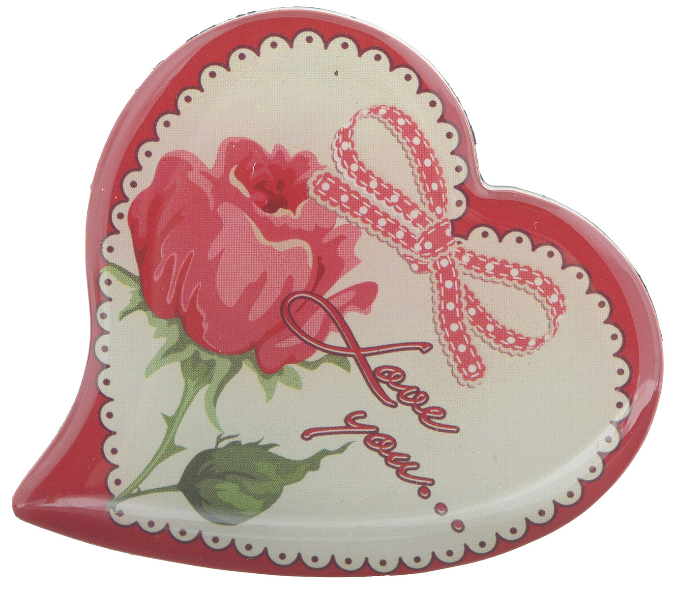 Магнит Феникс-презент Love You..., 5 x 5 смБрелок для ключейМагнит в форме сердца Феникс-презент Love You..., выполненный из агломерированного феррита, станет приятным штрихом в повседневной жизни. Оригинальный магнит, декорированный изображением розы, поможет вам украсить не только холодильник, но и любую другую магнитную поверхность. Материал: агломерированный феррит.