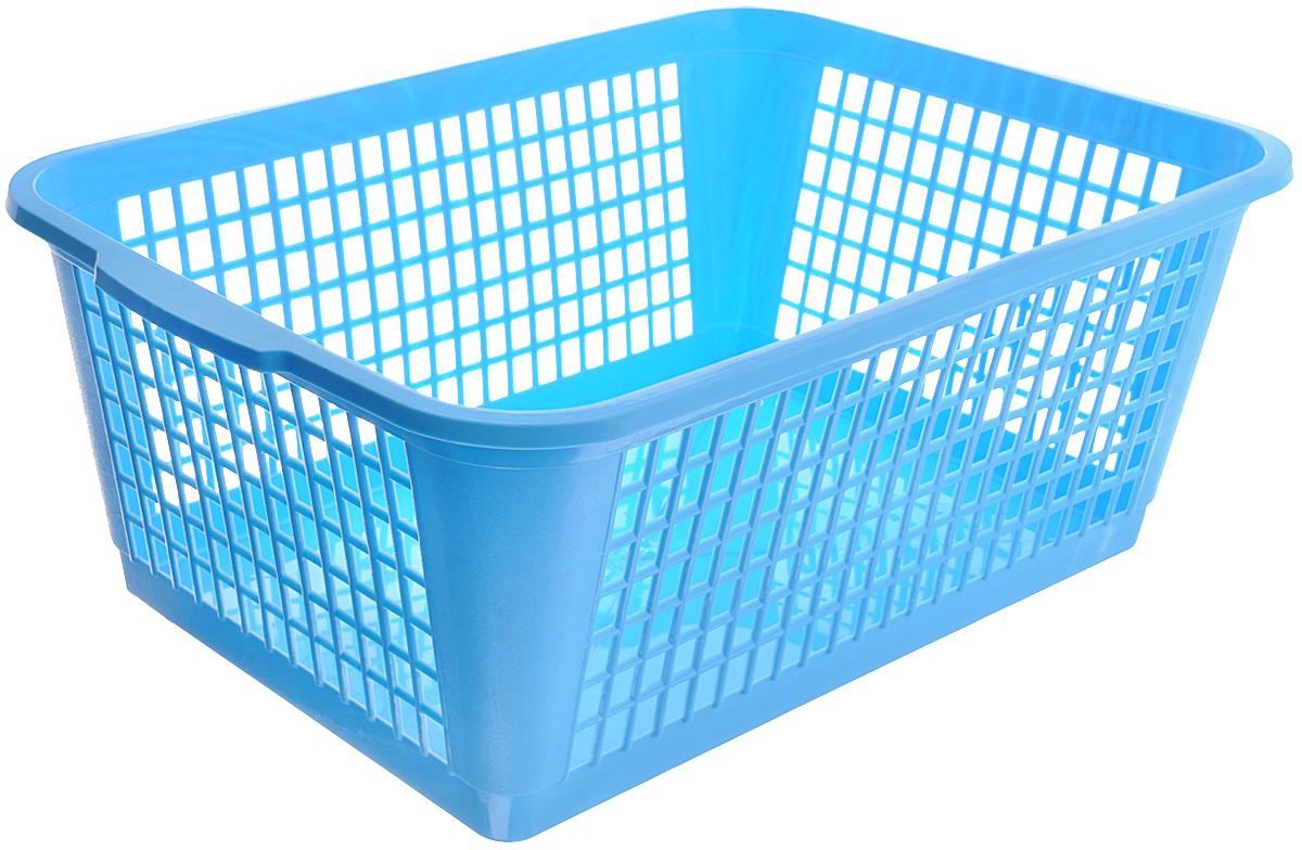 Корзина Gensini, цвет: голубой, 26 л68/5/4Универсальная корзина Gensini, выполненная из пластика, предназначена для хранения мелочей в ванной, на кухне, даче или гараже. Позволяет хранить мелкие вещи, исключая возможность их потери. Боковые стенки украшены перфорацией в виде прямоугольников.