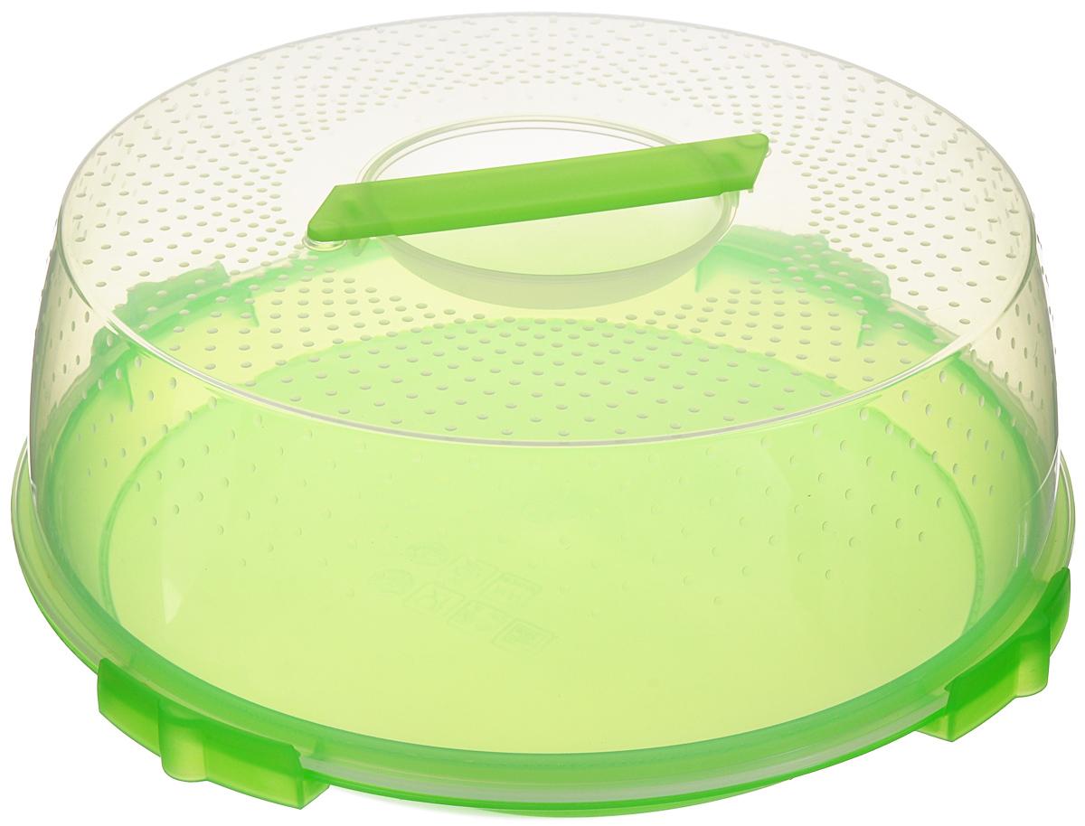 Тортница Cosmoplast Оазис, цвет: салатовый, прозрачный, диаметр 32 см54 009312Тортница Cosmoplast Оазис изготовлена из высококачественного прочного пищевого пластика. Тортница имеет удобную ручку для переноски и прочные фиксаторы крышки. Может использоваться в микроволновой печи и морозильной камере (выдерживает температуру от -30°С до +115°С). Очень гигиенична и легко моется. Можно мыть в посудомоечной машине. Диаметр тортницы: 32 см. Внутренний диаметр тортницы: 28 см. Высота тортницы: 13 см.