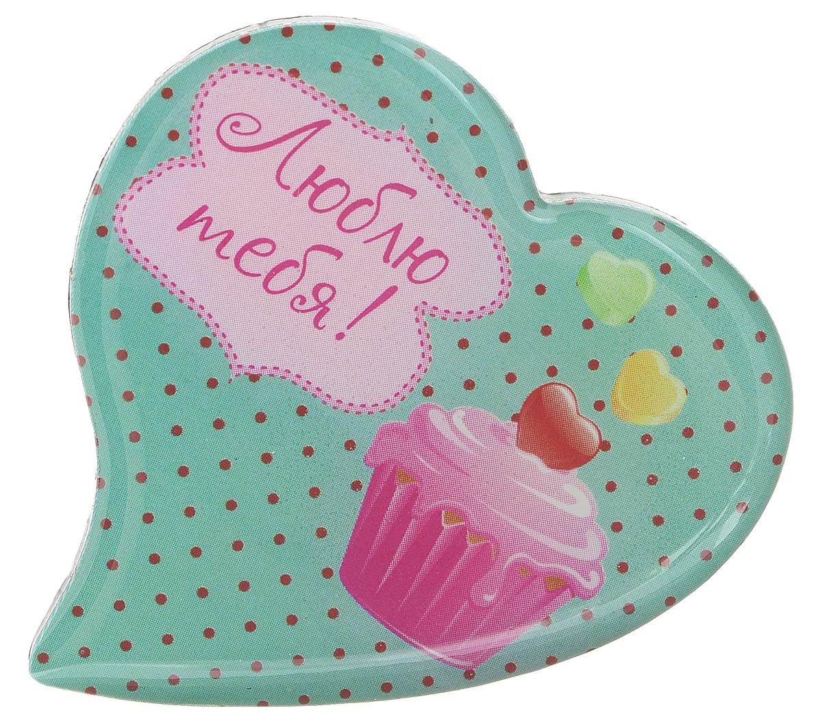 Магнит Феникс-презент Люблю тебя!, 5 x 5 см 27179010120016/4Магнит в форме сердца Феникс-презент Люблю тебя!, выполненный из агломерированного феррита, станет приятным штрихом в повседневной жизни. Оригинальный магнит, декорированный изображением пирожного, поможет вам украсить не только холодильник, но и любую другую магнитную поверхность. Материал: агломерированный феррит.