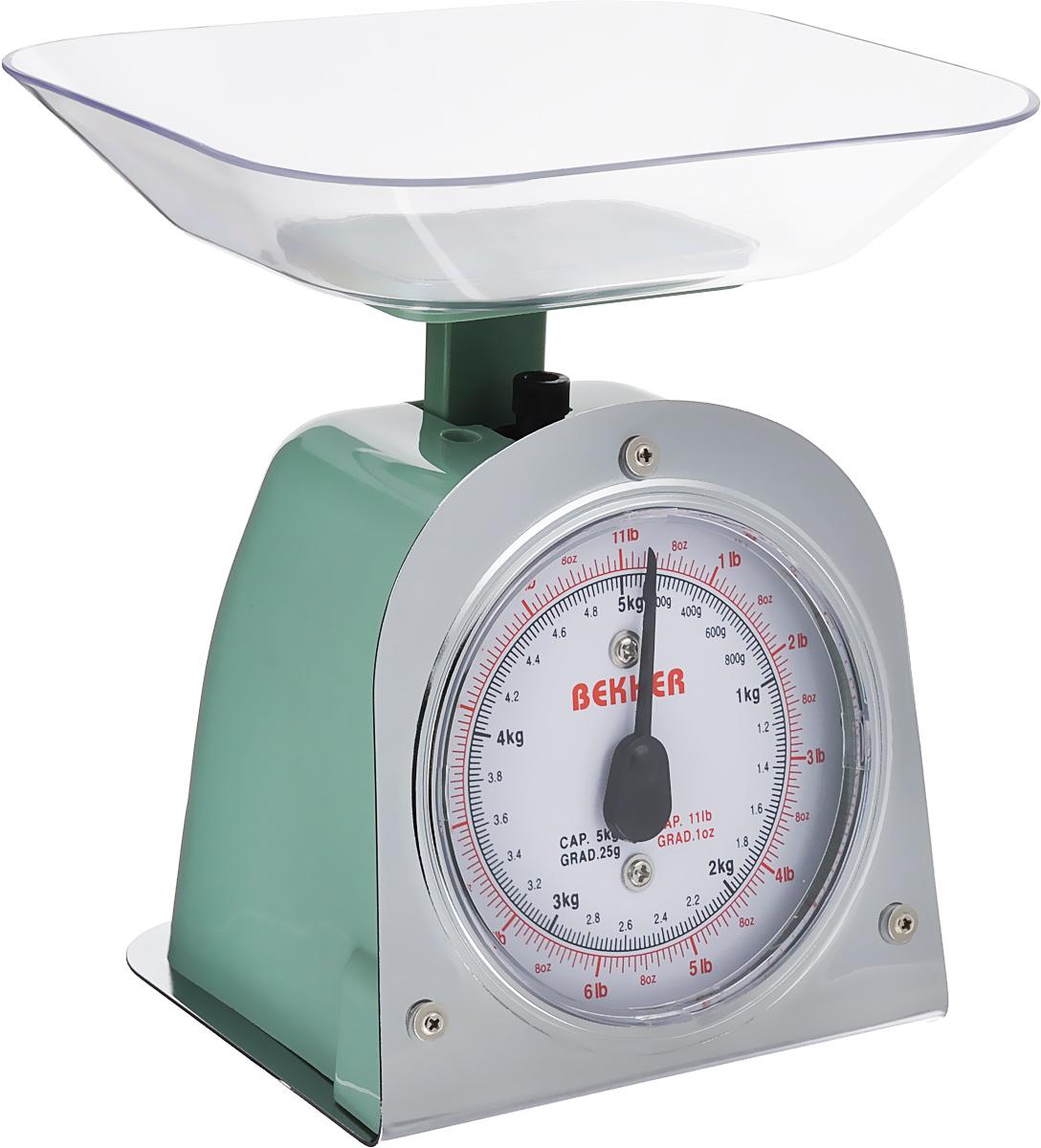 Весы кухонные Bekker Koch, цвет: зеленый, до 5 кгB5Весы кухонные Bekker Koch предназначены для взвешивания продуктов. Основание весов изготовлено из металла, а корпус из высококачественного пластика. Весы имеют регулятор мерной шкалы и съемную чашу, изготовленную из пластика. Весы выдерживают до 5 килограмм веса. Кухонные весы Bekker Koch придутся по душе каждой хозяйке и станут незаменимым аксессуаром на кухне.Размер весов (с учетом чаши): 13,5 см х 12 см х 19 см. Цена деления: 25 г. Максимальная нагрузка: 5 кг. Размер съемной чаши: 17,8 см х 15 см х 3,5 см.