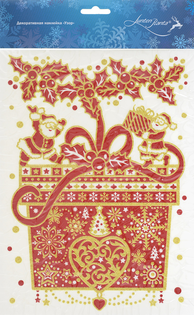 Новогоднее оконное украшение Lunten Ranta Узор, 20 х 29,5 см 65909_1RSP-202SНовогоднее оконное украшение Lunten Ranta Узор поможет украсить дом к предстоящим праздникам. Наклейка изготовлена из ПВХ в виде подарка с лентой, который нанесен на прозрачную клейкую пленку. Рисунок декорирован золотистыми блестками. С помощью этого украшения вы сможете оживить интерьер по своему вкусу: наклеить его на окно, на зеркало или на дверь.Новогодние украшения всегда несут в себе волшебство и красоту праздника. Создайте в своем доме атмосферу тепла, веселья и радости, украшая его всей семьей.