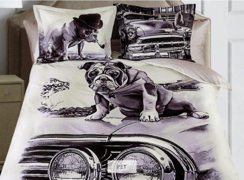 Комплект белья Mona Liza Pet, 2-спальный, наволочки 50х70, 70х70, цвет: серый, бежевый, темно-коричневый391602Комплект белья Mona Liza Pet, выполненный из сатина, состоит из пододеяльника, простыни и наволочек двух размеров по две штуки каждого. Изделия оформлены оригинальным рисунком. Отличительная особенность серии - авторский дизайн, фотопечать с высоким разрешением, насыщенные цвета с точной передачей полутонов. По сути, это панно, перенесенное на ткань - нелиняющий сатин. Сатин - это хлопковая ткань, имеющая особое переплетение нитей. Имеет гладкую, шелковистую лицевую поверхность, на которой преобладают уточные нити. Сатин довольно плотен и блестит. В комплект входит: Пододеяльник - 1 шт. Размер: 175 см х 210 см. Простыня - 1 шт. Размер: 215 см х 240 см. Наволочка - 2 шт. Размер: 70 см х 70 см. Наволочка - 2 шт. Размер: 50 см х 70 см. Рекомендации по уходу: - Ручная и машинная стирка 40°С, - Гладить при средней температуре, - Щадящая сушка, - Не подвергать химчистке.