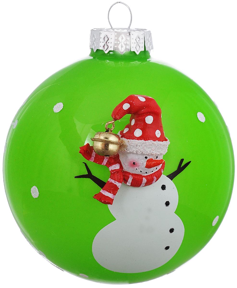 Новогоднее подвесное украшение Its a Happy Day Шар. Снеговичок в шарфике, цвет: зеленый, белый, красный, диаметр 10 см65609Новогоднее подвесное украшение Its a Happy Day Шар. Снеговичок в шарфике выполнено из высококачественного стекла в форме шара и оформлено объемной фигуркой. С помощью специальной петельки украшение можно повесить в любом понравившемся вам месте. Но, конечно, удачнее всего оно будет смотреться на праздничной елке.Елочная игрушка - символ Нового года. Она несет в себе волшебство и красоту праздника. Создайте в своем доме атмосферу веселья и радости, украшая новогоднюю елку нарядными игрушками, которые будут из года в год накапливать теплоту воспоминаний.