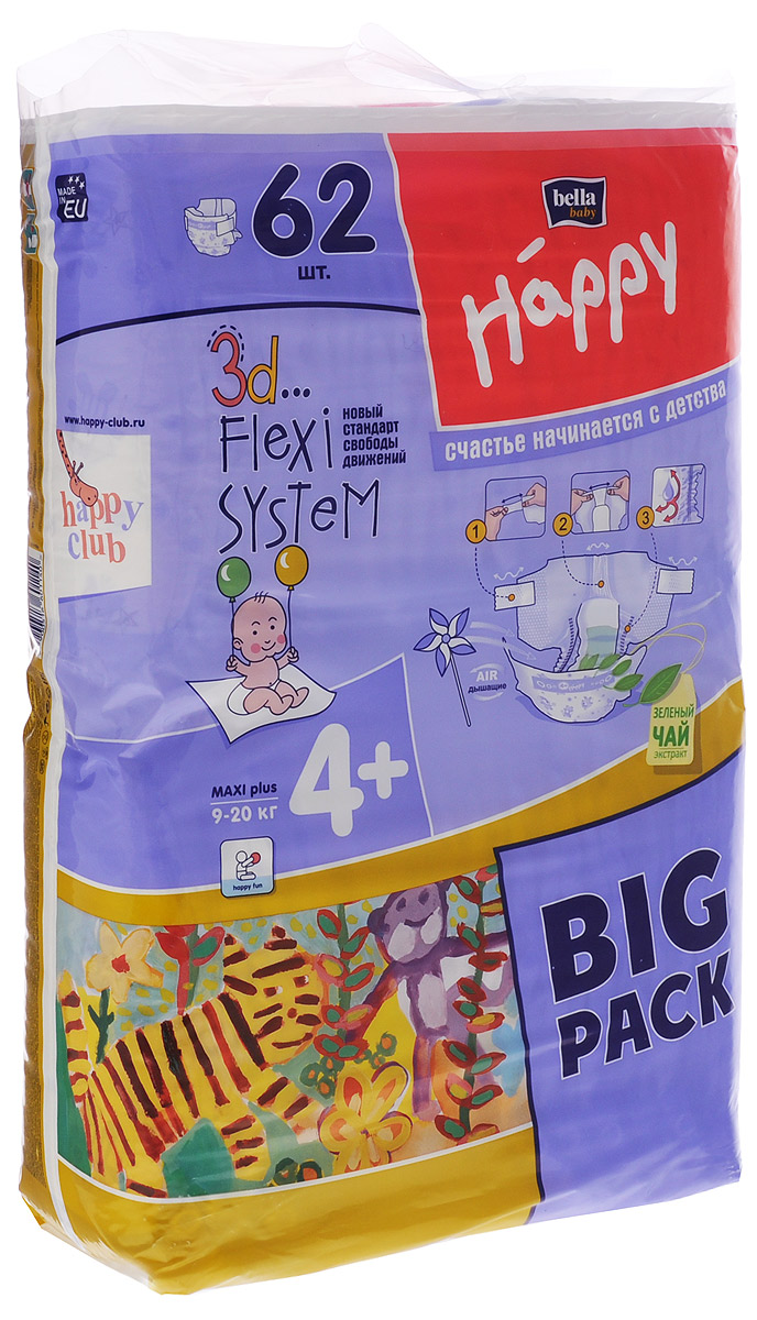 Bella Подгузники для детей Baby Happy размер Maxi Plus 4+ 9-20 кг 62 шт - Подгузники и пеленки