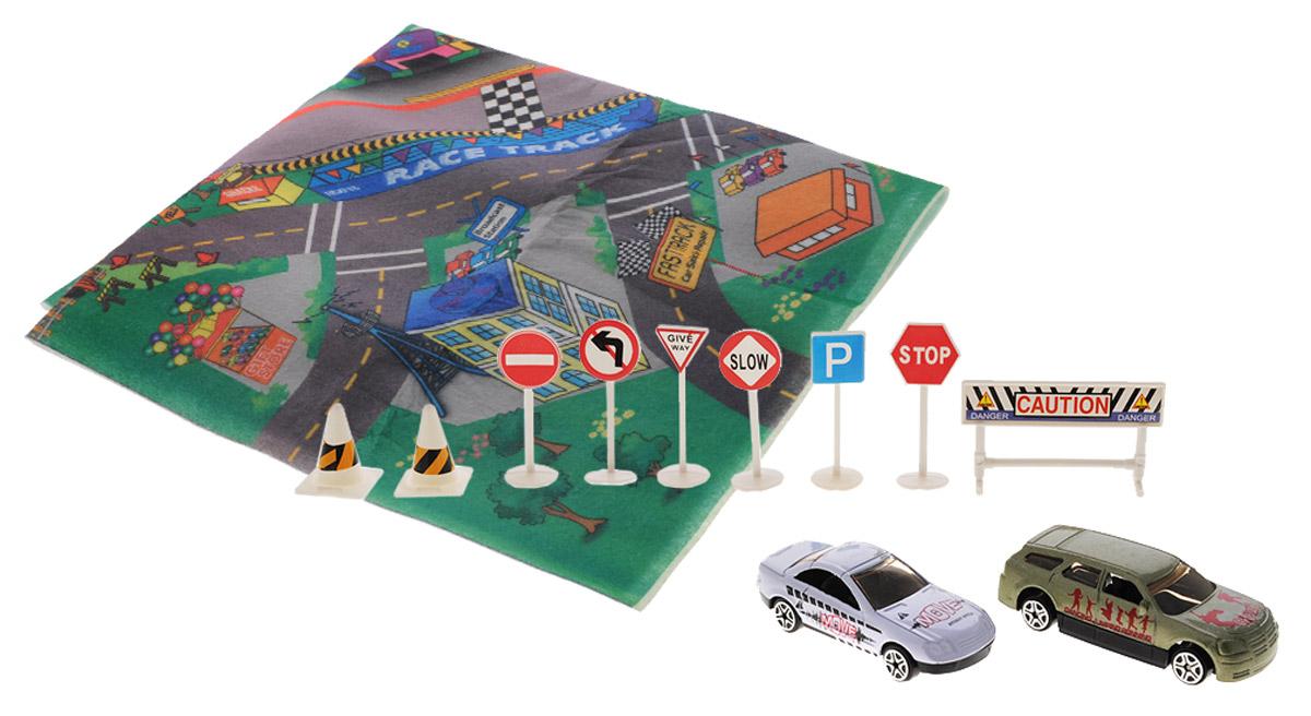 Big motors Игровой набор Гоночный трек цвет машин белый оливковый
