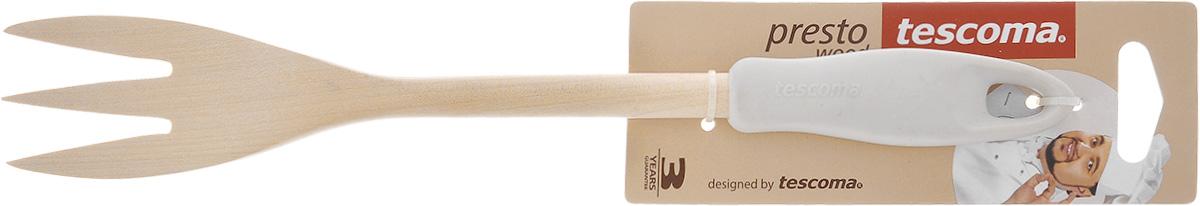 Вилка для мяса Tescoma Presto Wood, цвет: белый, длина 30 см391602Вилка для мяса Tescoma Presto Wood изготовлена из экологически чистого материала - качественной березовой древесины, обладающей уникальной текстурой. Элегантная ручка имеет противоскользящую обработку, что дает возможность удобно и комфортно пользоваться вилкой. Такая кухонная принадлежность подходит для всех видов посуды, а также замечательна для посуды с антипригарным покрытием. Вилка для мяса Tescoma Presto Wood станет вашим незаменимым помощником на кухне, а также это практичный и необходимый подарок любой хозяйке! Не рекомендуется мыть в посудомоечной машине. Размер рабочей поверхности: 4,5 см х 9 см. Общая длина вилки: 30 см.
