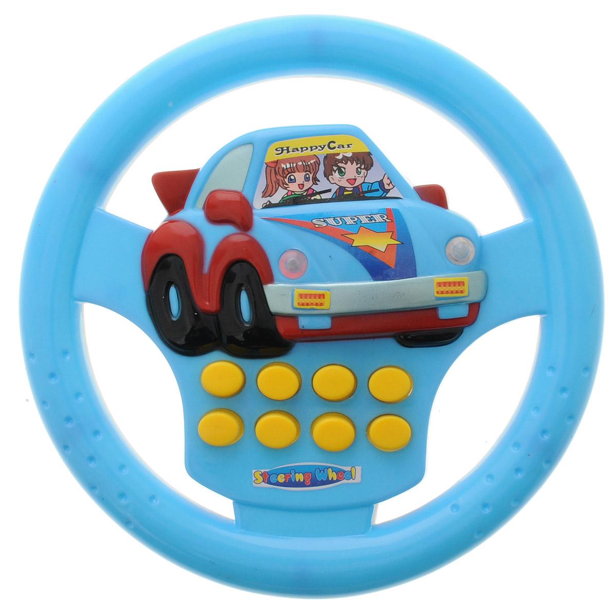 """Развивающая игрушка """"Руль"""" надолго займет внимание вашего ребенка. Она выполнена из безопасного пластика в виде голубого руля автомобиля и оснащена световыми и звуковыми эффектами. На руле расположены 8 кнопок, которые активирует различные световые и звуковые эффекты, например, клаксон, шум мотора. Развивающая игрушка """"Руль"""" способствует развитию цветового и звукового восприятий, внимания, воображения, сообразительности, памяти, координации движений и мелкой моторики рук. Для работы требуются 2 батарейки типа АА (не входят в комплект)."""