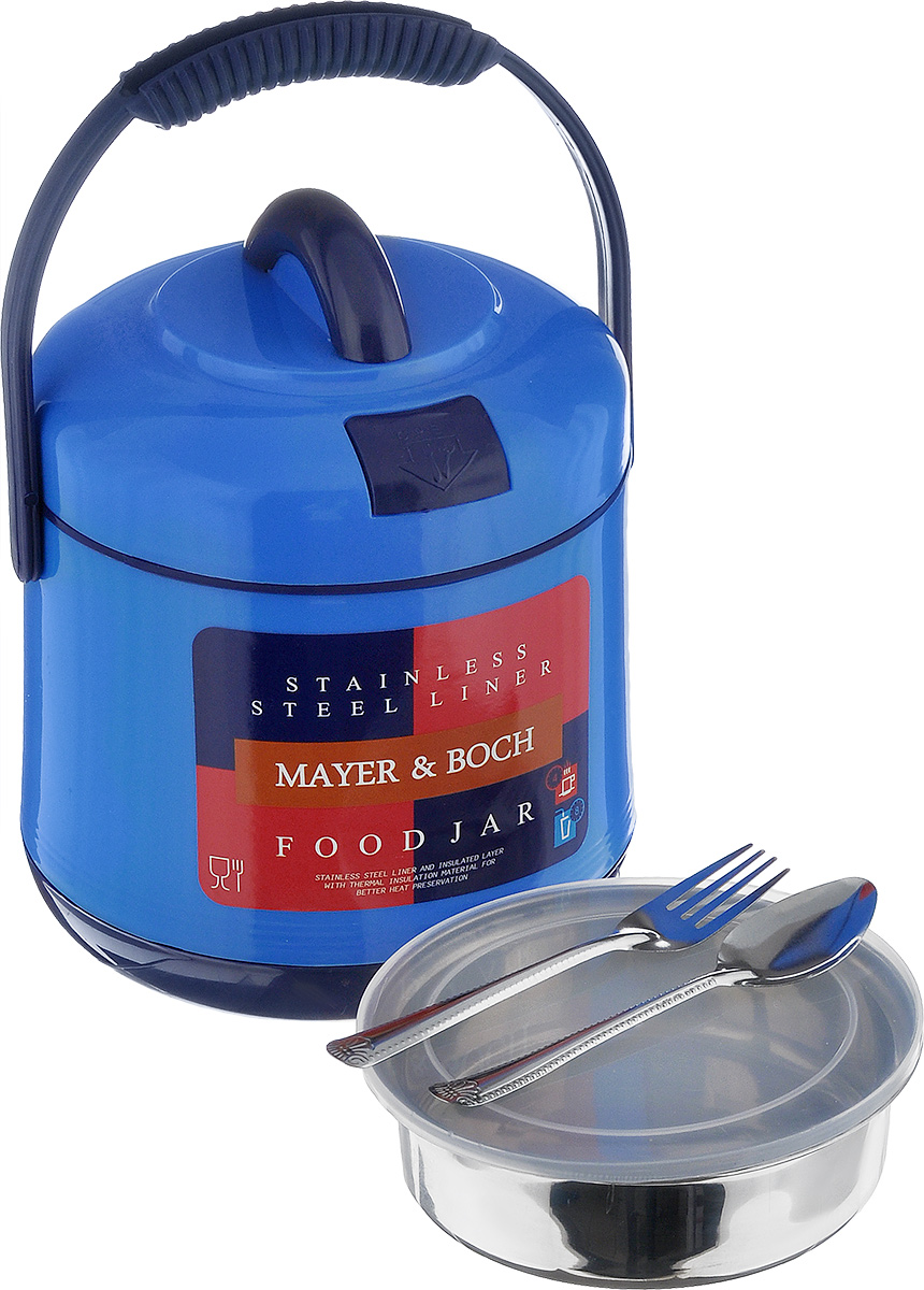 Термос пищевой Mayer & Boch, цвет: синий, 1,6 л115510Пищевой термос Mayer & Boch предназначен для хранения и переноски горячих и холодных пищевых продуктов. Корпус выполнен из высококачественного пластика. Внутренняя колба изготовлена из нержавеющей стали. Наполнение из жесткого пенопласта сохраняет температуру и свежесть пищи на протяжении 4-5 часов. Пища сохраняет аромат, вкус и питательные вещества. Внутрь вставляется специальная металлическая чаша с прозрачной пластиковой крышкой, что позволяет брать с собой сразу два блюда. В комплекте также предусмотрена ложка и вилка, которые хранятся в специальном отверстие в крышке. Такой термос - идеальный вариант для домашнего использования, для отдыха на природе или поездки. Элегантный и стильный дизайн подходит для любого случая. Размер термоса: 17 см х 17 см х 21 см. Диаметр емкости: 13,5 см. Высота стенки емкости: 4,5 см. Длина ложки/вилки: 14 см.