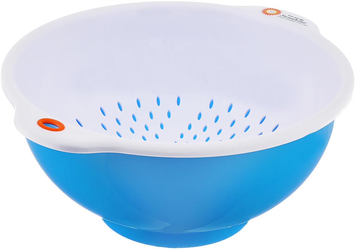 Дуршлаг Oriental Way, с миской, цвет: белый, синий, диаметр 25 см115510Дуршлаг Oriental Way, изготовленный из высококачественного пластика, станет полезным приобретением для вашей кухни. Он идеально подходит для процеживания, ополаскивания и стекания макарон, овощей, фруктов. Дуршлаг оснащен миской, которая предохранит поверхность стола от стекающей воды. Также ее можно использовать как самостоятельное изделие. Дуршлаг Oriental Way займет достойное место среди аксессуаров на вашей кухне.Внутренний диаметр дуршлага: 25 см.Внутренний диаметр миски: 26 см.Высота стенки дуршлага: 10,5 см.Высота стенки миски: 12,5 см.
