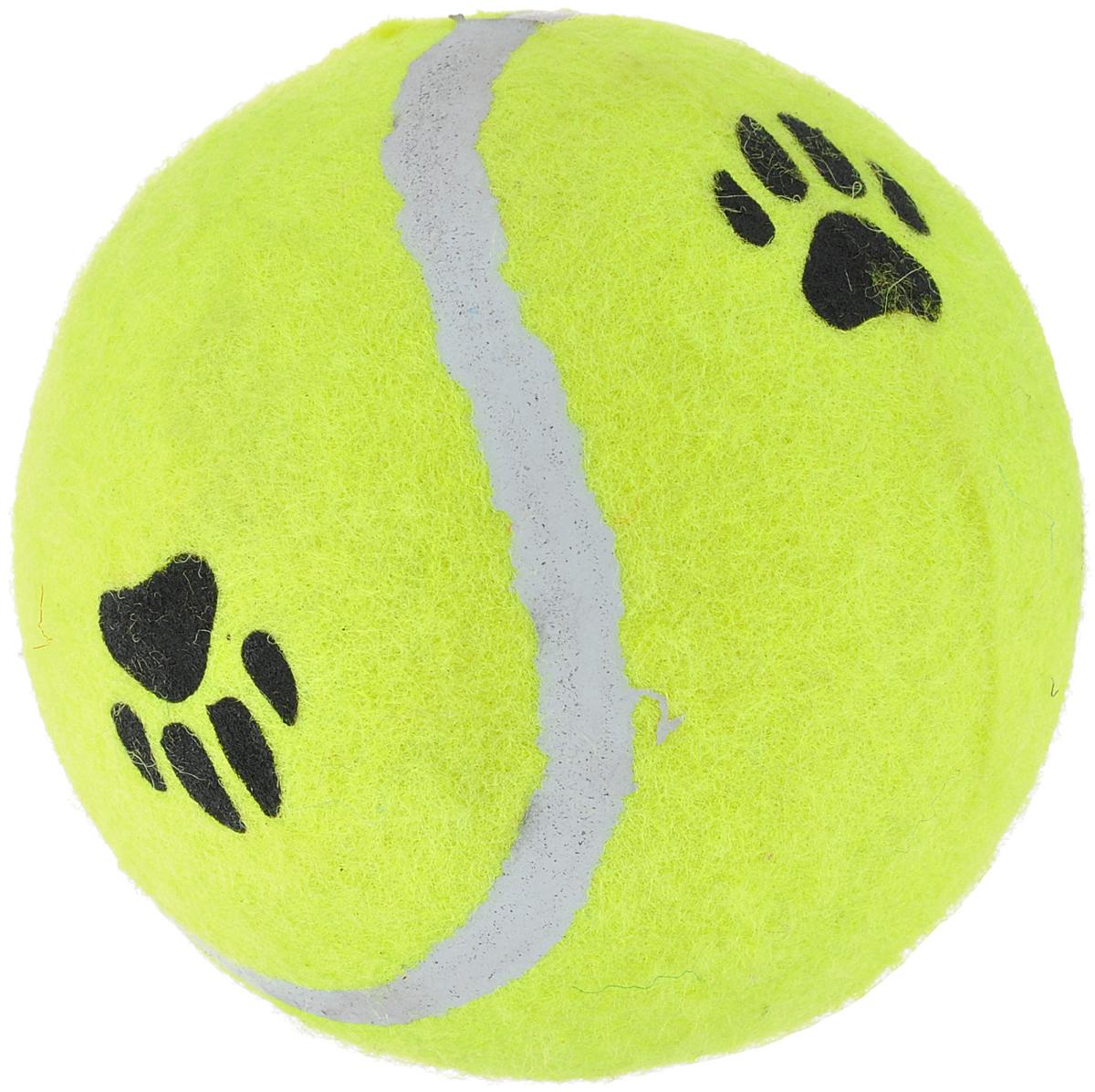 Игрушка для собак I.P.T.S. Мячик теннисный с отпечатками лап, цвет: желтый, диаметр 10 см0120710Игрушка для собак I.P.T.S. изготовлена из прочной цветной резины с ворсистой поверхностью в виде теннисного мяча с отпечатками лап. Предназначена для игр с собакой любого возраста. Такая игрушка привлечет внимание вашего любимца и не оставит его равнодушным. Диаметр: 10 см.