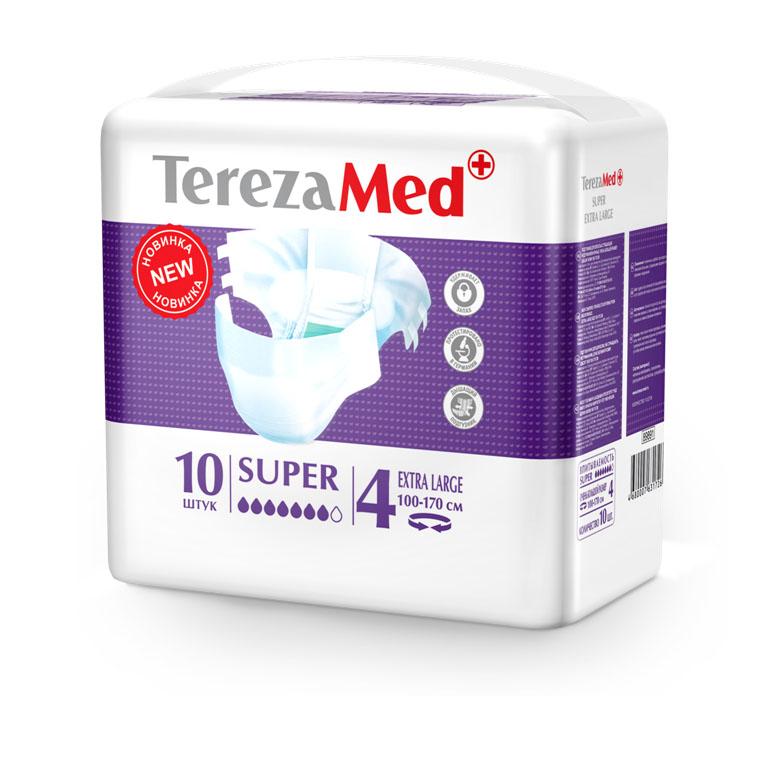 Tereza Med Подгузники для взрослых Super Extra Large №4 10 шт16829Подгузники TerezaMed Super Extra Large предназначены для больных с серьезной формой недержания. Подгузник выполнен из мягкого дышащего материала, который пропускает пары влаги. Это позволяет коже пациента под подгузником дышать, а так же снижает риск появления опрелостей. Ядро подгузника состоит из натурального материала - целлюлозы, в которую добавлен суперабсорбент, впитывающий жидкость в больших количествах и обладающий свойством подавлять развитие неприятного запаха. Зеленый распределительный слой эффективно впитывает жидкость и распределяет ее внутри подгузника, тем самым снижая риск появления протечек. Крепление подгузника обеспечивается надежными липучками типа замочек, что позволяет многократно их приклеивать и отклеивать. Боковые бортики вокруг ног сделаны из гидрофобного материала и надежно запирают жидкость внутри. Размер талии пациента: очень большой, 100-170 см. Количество в упаковке: 10 штук. Впитываемость: 3200 мл ±5%