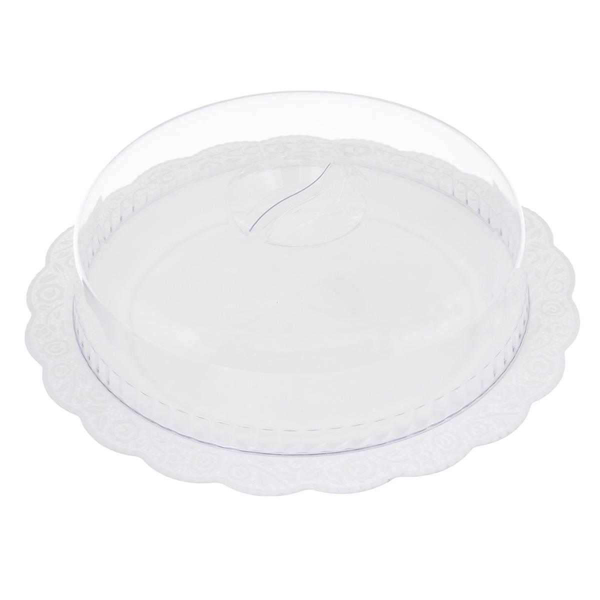 Блюдо Альтернатива Нежность, с крышкой, цвет: белый, прозрачный, диаметр 36,5 см115010Круглое блюдо Альтернатива Нежность, выполненное из высококачественного пищевого пластика, оснащено прозрачной крышкой. Волнообразные края изделия оформлены красивым рельефным рисунком. Блюдо идеально для подачи торта и больших пирогов. Оригинальный дизайн придется по вкусу и ценителям классики, и тем, кто предпочитает утонченность и изысканность. Диаметр блюда: 36,5 см. Диаметр крышки: 28 см.Высота (с учетом крышки): 10 см.