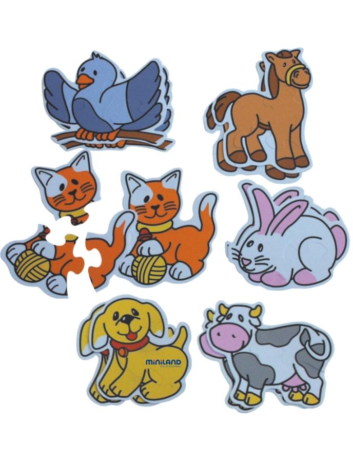 Miniland Обучающий пазл Животные 6 в 1 сортеры miniland шнуровка животные
