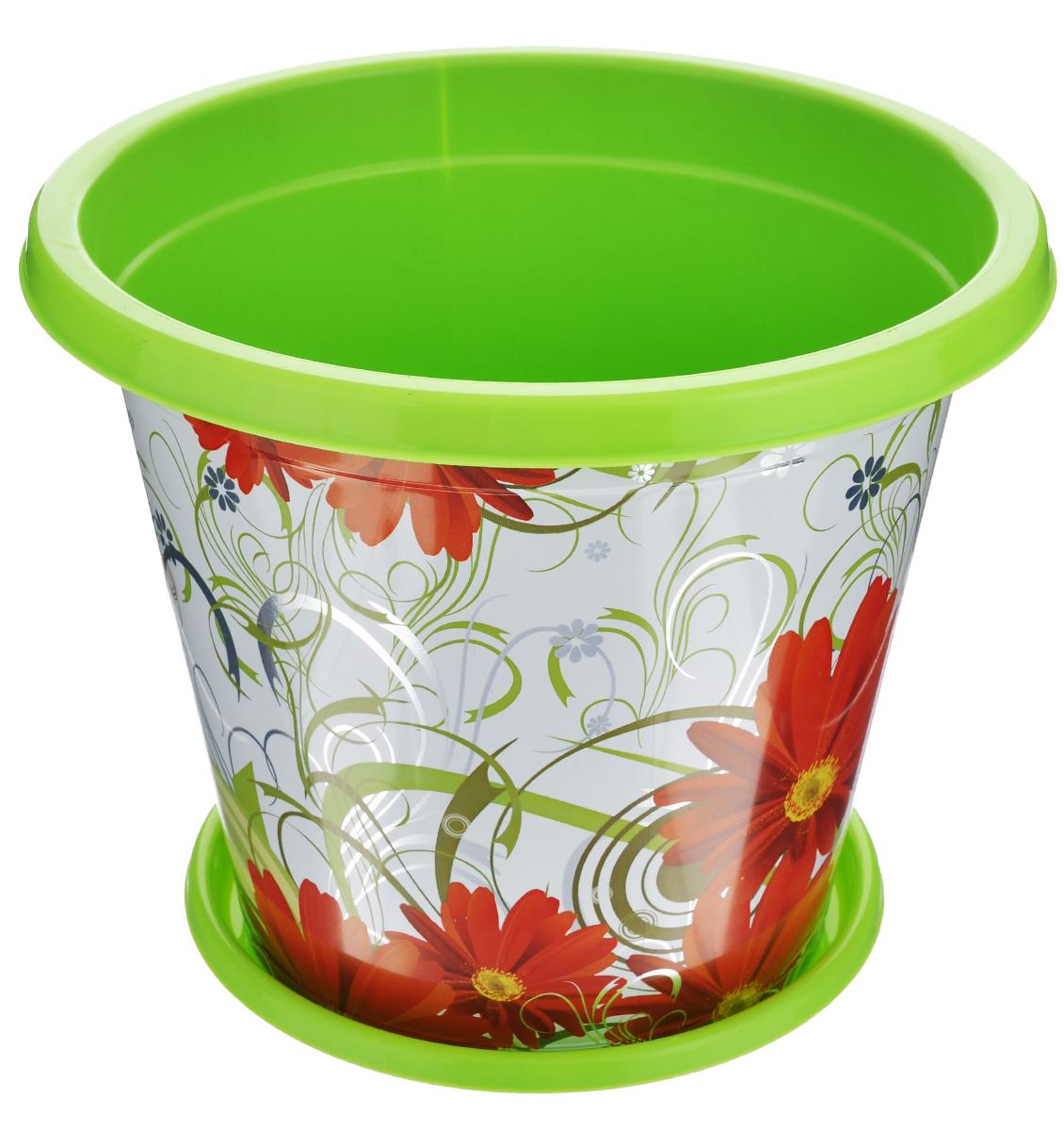 Горшок-кашпо Альтернатива Сюзанна, с поддоном, цвет: салатовый, красный, 3 лKOC_SOL209Горшок-кашпо Альтернатива Сюзанна изготовлен из прочного пластика и оформлен красивым цветочным рисунком. Круглый поддон предназначен для стока воды. Изделие подходит для выращивания растений и цветов в домашних условиях. Такой горшок порадует вас изысканным дизайном и функциональностью, а также оригинально украсит интерьер помещения. Диаметр горшка по верхнему краю: 21 см. Высота горшка: 17 см. Диаметр поддона: 15,5 см. Объем горшка: 3 л.