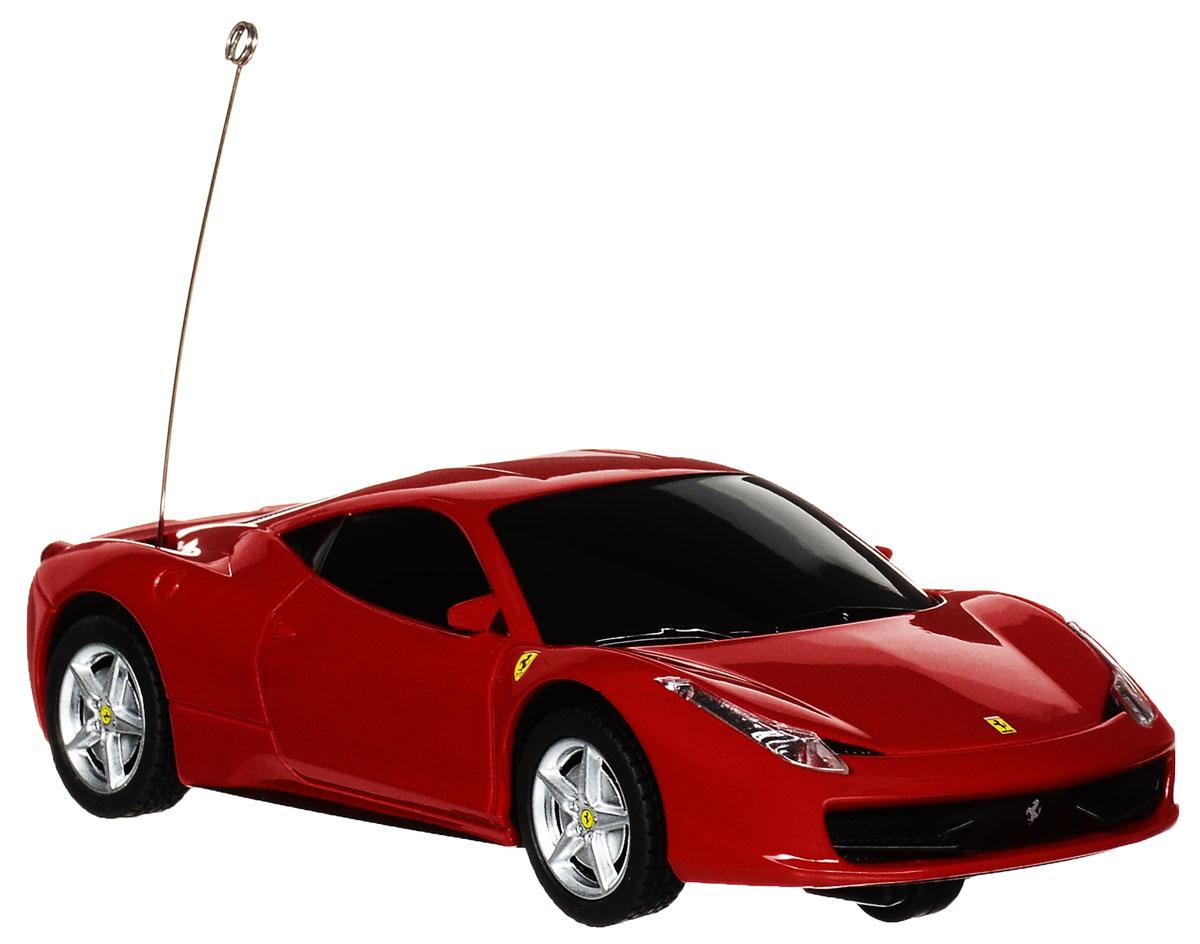 """Радиоуправляемая модель Rastar """"Ferrari 458 Italia"""" станет отличным подарком любому мальчику! Все дети хотят иметь в наборе своих игрушек ослепительные, невероятные и модные автомобили на радиоуправлении. Тем более, если это автомобиль известной марки с проработкой всех деталей, удивляющий приятным качеством и видом. Одной из таких моделей является автомобиль на радиоуправлении Rastar """"Ferrari 458 Italia"""". Это точная копия настоящего авто в масштабе 1:32. Авто обладает неповторимым провокационным стилем и спортивным характером. Потрясающая маневренность, динамика и покладистость - отличительные качества этой модели. Возможные движения: вперед, назад, вправо, влево, остановка. При движении загораются фары и стоп-сигналы. Пульт управления работает на частоте 27 MHz. Для работы машины необходимо купить 2 батарейки типа АА (не входят в комплект). Для работы пульта управления необходимо купить 2 батарейки типа АА (не входят в комплект)."""