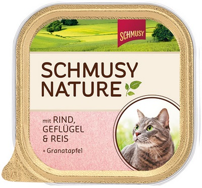Консервы для кошек Schmusy, с говядиной и птицей, 100 г24358Консервы для кошек Schmusy - это полноценная еда с множеством натуральных ингредиентов для кошек и котов. Корм богат содержанием отборного мяса, потому что кошки - это настоящие хищники, они нуждаются в пище, богатой белками. В этих ванночках маленькие кусочки мяса смешаны с паштетом. Кроме отборного мяса в корм добавлена мука из семян граната. Гранат благодаря своим антиоксидантным свойствам защищает клетки от так называемых свободных радикалов. Также добавлен таурин для правильного развития организма кошек. Не содержит сои, красителей, ароматизаторов, костной муки, консервантов.Состав: говядина - 30%, птица - 20%, печень, потрошки, рис - 4%, минералы, измельченные косточки граната - 0,1%. Гарантированный анализ: белок - 10,5%, жир - 5,5%, клетчатка - 0,3%, зола - 2%, влажность - 79%. Витамины и минералы: витамин B1 - 24 мг/кг, витамин B6 - 6 мг/кг, витамин D3 - 180 МЕ/кг, витамин E - 89 мг/кг, фолиевая кислота - 1,5 мг/кг, таурин - 590 мг/кг.Товар сертифицирован.
