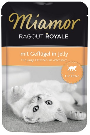 Консервы для котят Миамор Королевское Рагу с птицей в желе, 100 г0120710Миамор королевское рагу - это нежные кусочки, приготовленные в изысканном желе. Производятся по особой щадящей технологии для сохранения витаминов с высокой долей мяса домашних животных. Миамор - это полноценный повседневный корм для котят, который очень легко усваивается. Не содержит сои, красителей и ароматизаторов, за то содержит множество полезных веществ, например магний, который необходим для здоровья котят. Условия хранения: комнатная температура в закрытом виде, после вскрытия до 2 дней в холодильнике.Особенности: Натуральные компоненты; Без сои, красителей, ароматизаторов, костной муки; Без консервантов Состав: Птица;Витамины