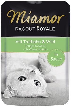 Консервы для кошек Миамор Королевское Рагу куропатка и дичь в соусе, 100 г0120710Миамор королевское рагу - это нежные кусочки, приготовленные в деликатесном соусе. Производятся по особой щадящей технологии для сохранения витаминов с высокой долей мяса домашних животных. Миамор - это полноценный повседневный корм для кошек и котов, который очень легко усваивается. Не содержит сои, красителей и ароматизаторов, за то содержит множество полезных веществ, например магний, который необходим для здоровья кошек. Условия хранения: комнатная температура в закрытом виде, после вскрытия до 2 дней в холодильнике.Особенности: Натуральные компоненты; Без сои, красителей, ароматизаторов, костной муки; Без консервантов Состав: Индейка;Дичь;Таурин