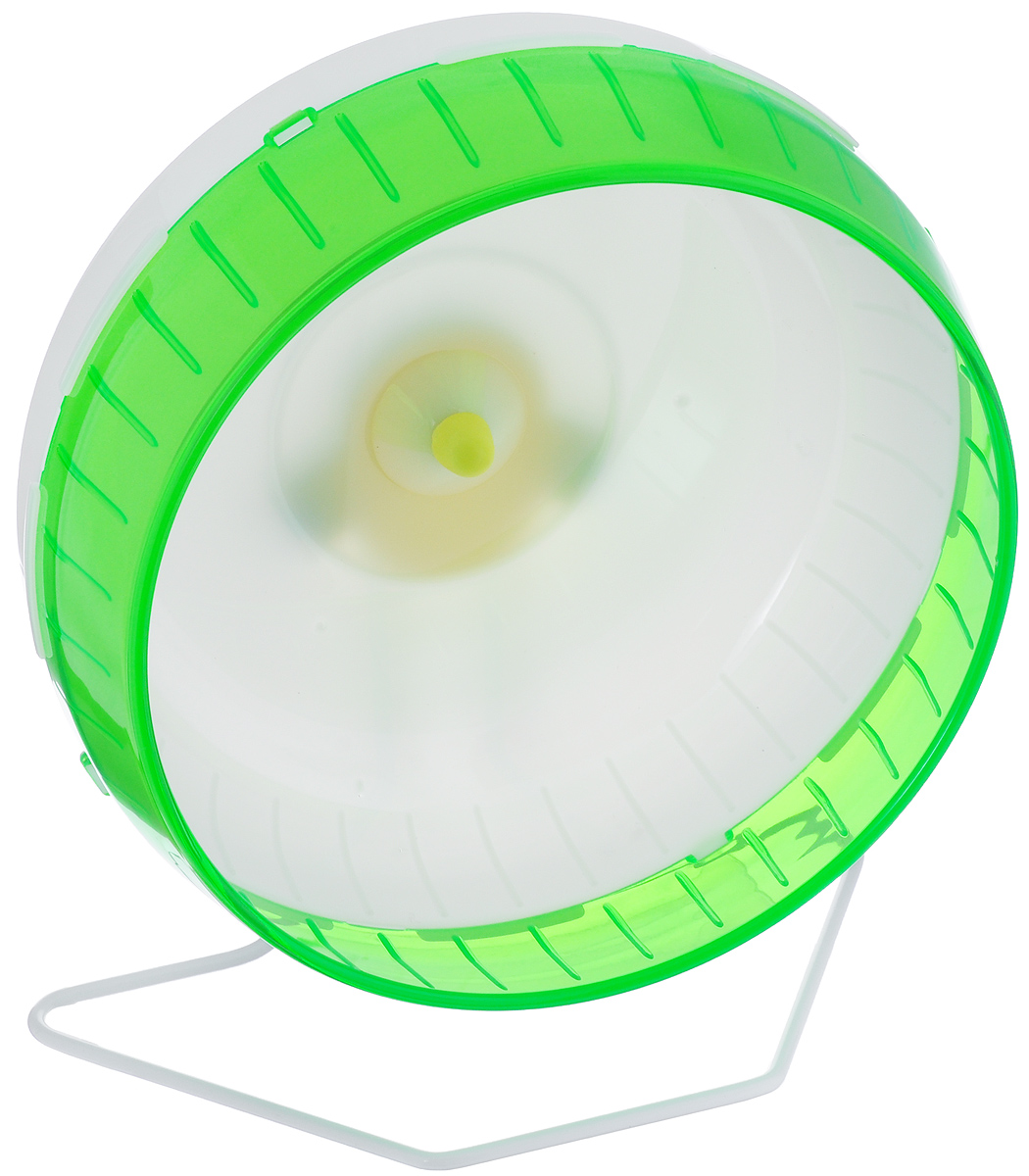 Колесо для грызунов I.P.T.S., цвет: белый, зеленый, 29 см0120710Колесо для грызунов I.P.T.S. - удобно и бесшумно, с высоким уровнем безопасности. Поместив его в клетку, вы обеспечите своему питомцу необходимую физическую активность. Сплошная внутренняя поверхность без щелей убережет питомца от возможных травм. Можно установить на подставку или прикрепить к решетке. Колесо можно использовать для сирийских хомяков, дегу, крыс или молодых шиншилл. Диаметр колеса: 29 см.