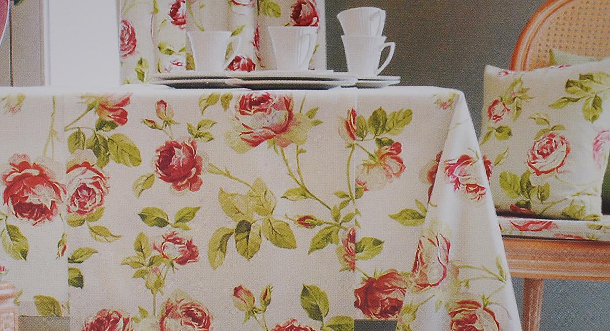 Скатерть Guten Morgen Красная роза, цвет: голубой, зеленый, красный, 145x 180 смVT-1520(SR)Скатерть Guten Morgen Красная роза выполнена из габардина, благодаря чему она очень прочная, легкая и не мнется. Использование такой скатерти сделает застолье более торжественным, поднимет настроение гостей и приятно удивит их вашим изысканным вкусом. Также вы можете использовать эту скатерть для повседневной трапезы, превратив каждый прием пищи в волшебный праздник.