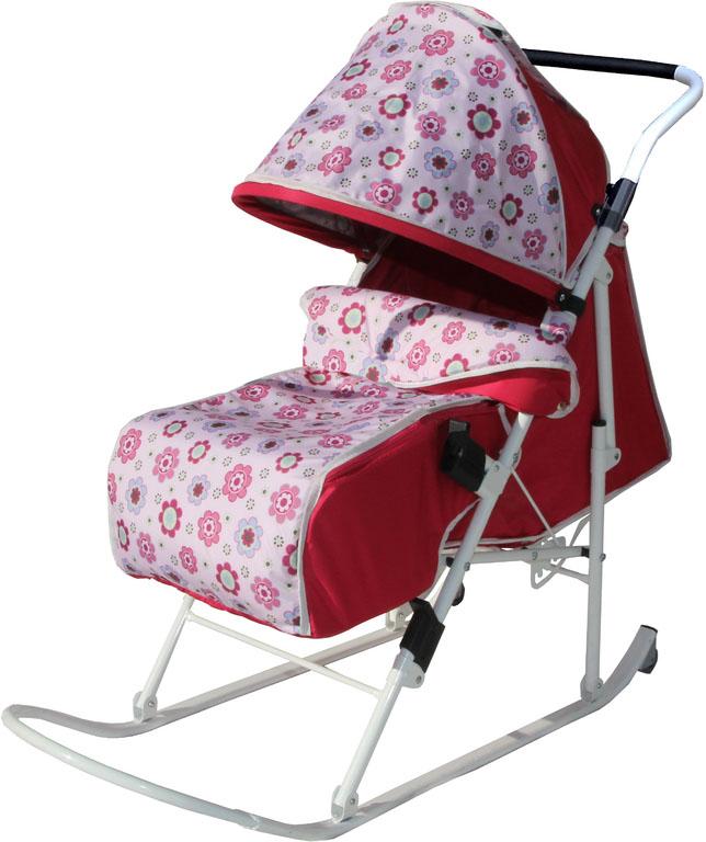 Складные санки-коляска с плоскими полозьями, 5 положений спинки, увеличенное посадочное место, ремень безопасности, складывающийся козырек, смотровое окошко, чехол для ног.
