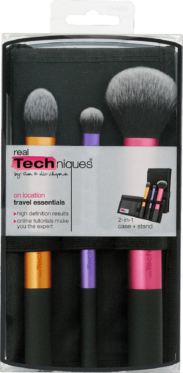 Real Techniques Travel Essentials Дорожный набор кистей1301210Real Techniques Travel essentials набор кистей для путешествий и дома.В набор входят:-Essential Foundation Brush - кисть для основы (предназначена для нанесения жидкого основного тонального средства и консилера). Общая длина - 15,5 см, ворс - 3 см.-Domed Shadow Brush - кисть для теней (предназначена для макияжа глаз). Общая длина - 14 см, ворс - 1,5 см.-Multi Task Brush - многоцелевая кисть (румяна, бронзер, пудра). Общая длина - 17 см, ворс - 4 см. панорамный чехол.
