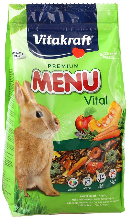 Корм для кроликов Vitakraft Menu Vital, 1 кг13156Сбалансированный корм для кроликов Vitakraft Menu Vital для ежедневного применения. В состав входят: овощи, семена, злаки, витамины и минералы, а так же клетчатка, необходимая для правильной работы пищеварительной системы. Состав: компоненты растительного происхождения, злаки, овощи, фрукты,минералы, растительные масла и жиры, сахар, семена. Анализ: 13% протеин, 3% масло, 13% клетчатка, 6% зола, 10% влажность, 54,5% углеводы, витамины А, Е, С, В1, В2.Товар сертифицирован.