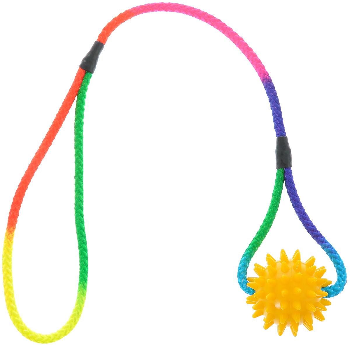 Игрушка для собак V.I.Pet Массажный мяч, на шнуре, цвет: желтый, диаметр 5,5 см0120710Игрушка для собак V.I.Pet Массажный мяч, изготовленная из ПВХ, предназначенадля массажа и самомассажа рефлексогенных зон. Она имеет мягкие закругленныемассажные шипы, эффективно массирующие и не травмирующие кожу. Сквозь мяч продет шнур.Игрушка не позволит скучать вашему питомцу ни дома, ни на улице.Диаметр: 5,5 см.Длина шнура: 50 см.