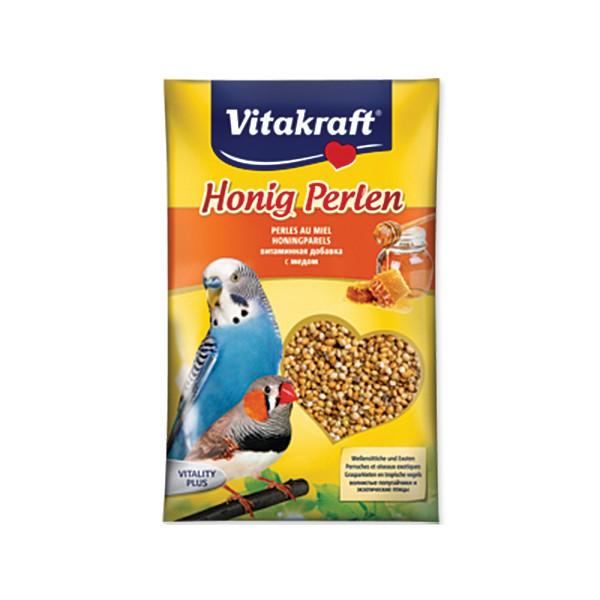 Подкормка для волнистых попугаев Vitakraft Honig-Perlen, медовая, 20 г0120710Подкормка для волнистых попугаев Vitakraft Honig-Perlen с добавлением меда. Мед является древнейшим испытанным средством для здоровья и благополучия. Птица получает лецитин, глюкозу, кальций и различные витамины. Главным составляющим препарата является высококачественное первосортное зерно, которое очень полезно для птиц. Состав: пшеница, минералы, 1%-мед, масла, жиры, волокна, сахар, витамины. Товар сертифицирован.